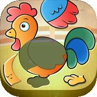 农场动物孩子们拼图-儿童教育游戏与发音,声音和真实的照片
